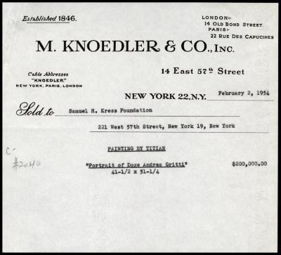 Image for M. Knoedler & Co., February 2, 1954