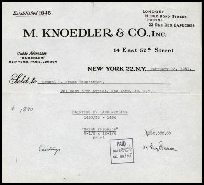 Image for M. Knoedler & Co., February 13, 1951