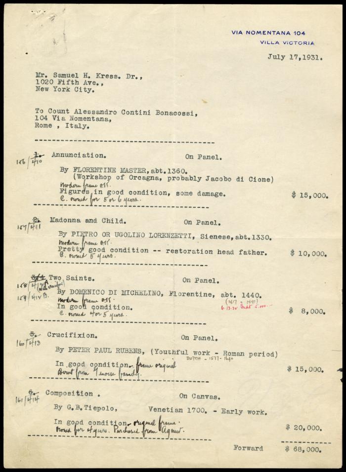 Image for Contini Bonacossi, Alessandro, July 17, 1931