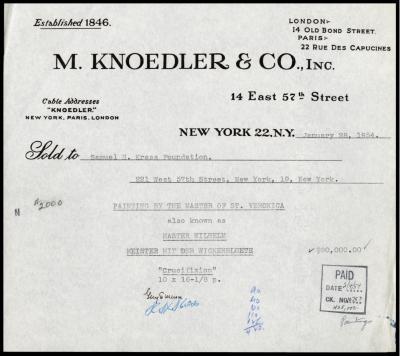 Image for M. Knoedler & Co., January 28, 1954 [1]
