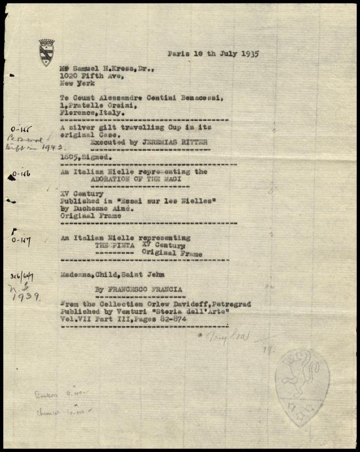 Image for Contini Bonacossi, Alessandro, July 10, 1935 [1]