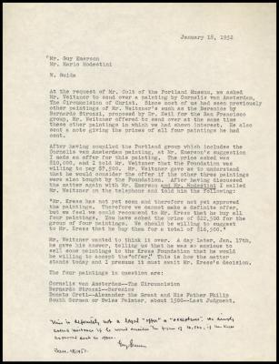 Image for Weitzner, Julius, January 30, 1952