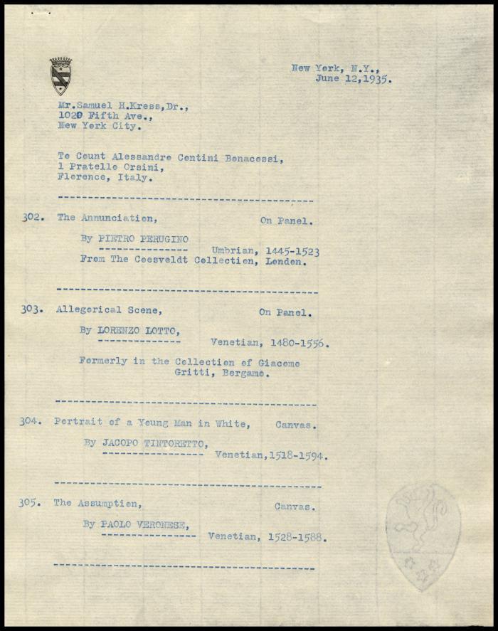 Image for Contini Bonacossi, Alessandro, June 12, 1935