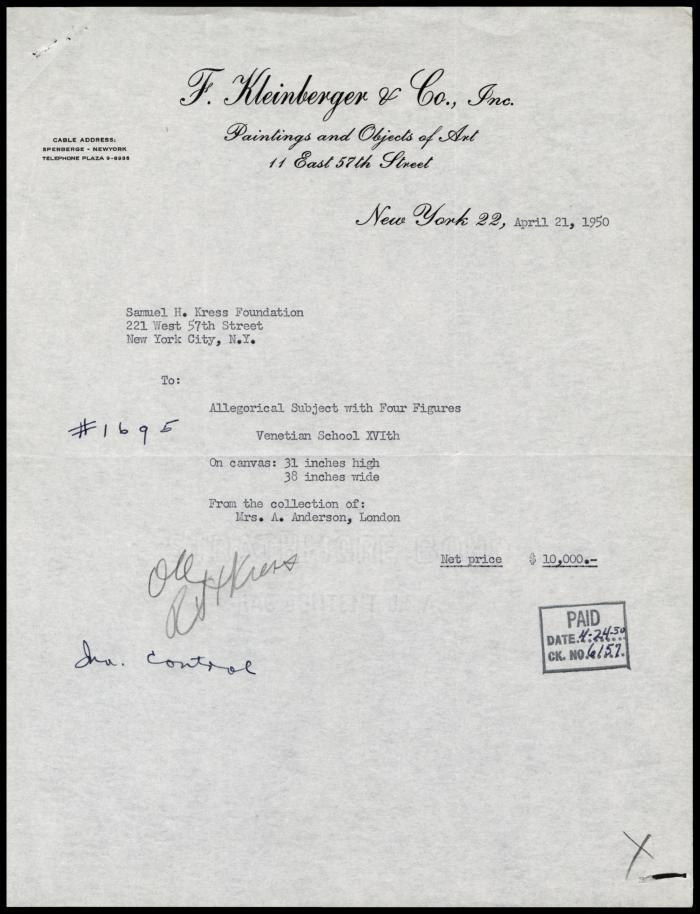 Image for F. Kleinberger Galleries, April 21, 1950