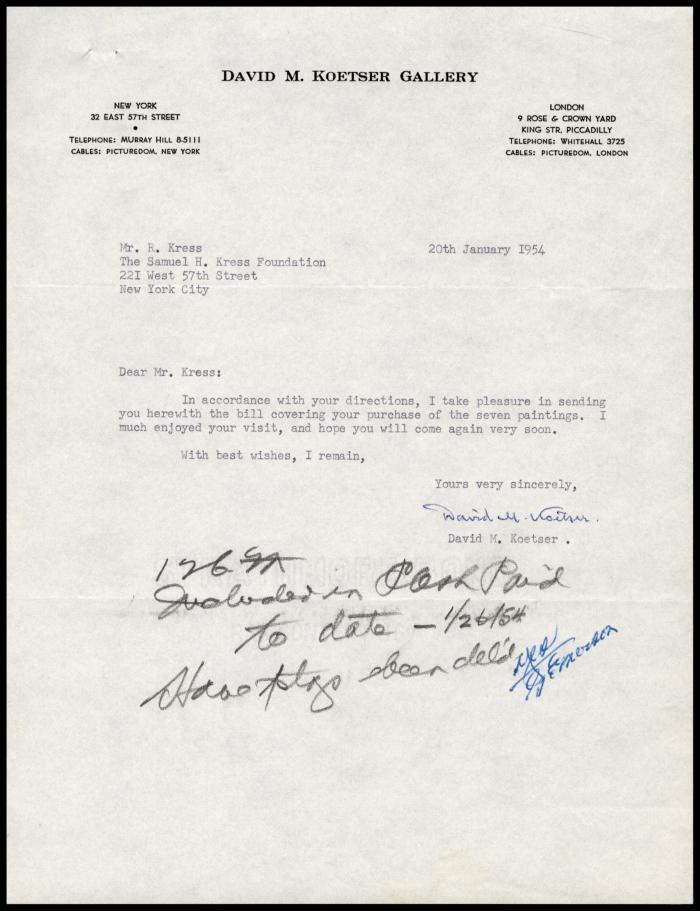 Image for David Koetser Gallery, January 20, 1954