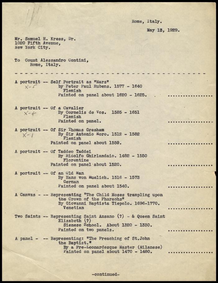 Image for Contini Bonacossi, Alessandro, May 13, 1929
