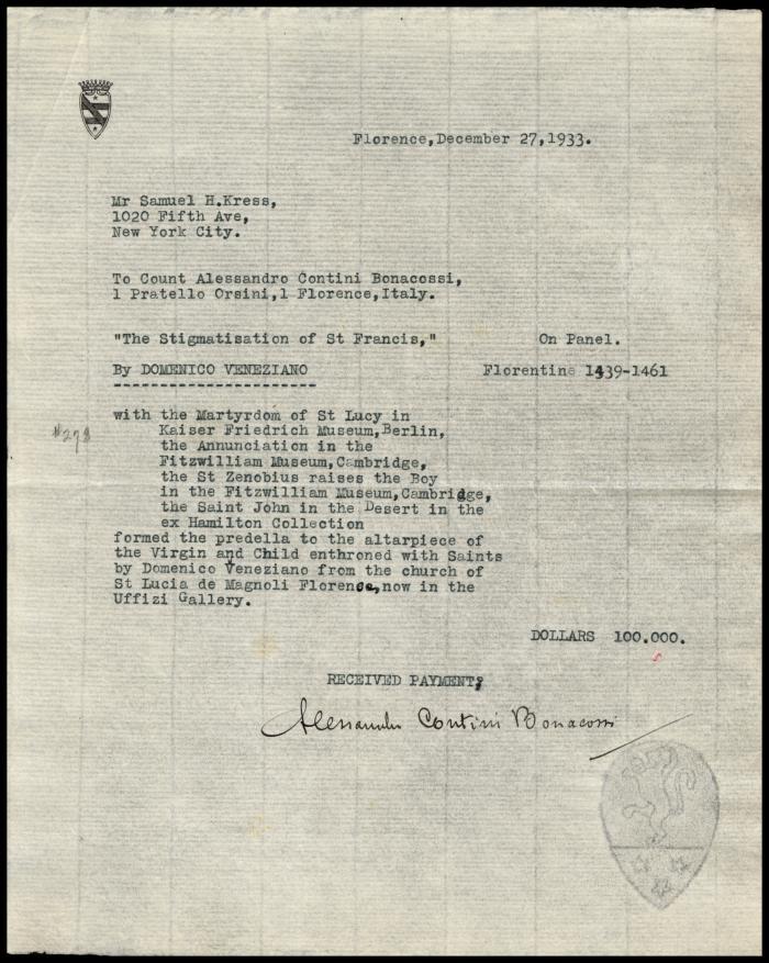 Image for Contini Bonacossi, Alessandro, December 27, 1933[2]