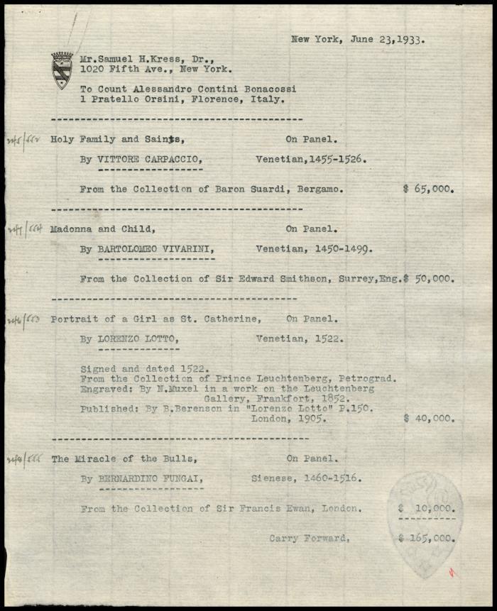 Image for Contini Bonacossi, Alessandro, June 23, 1933 [1]
