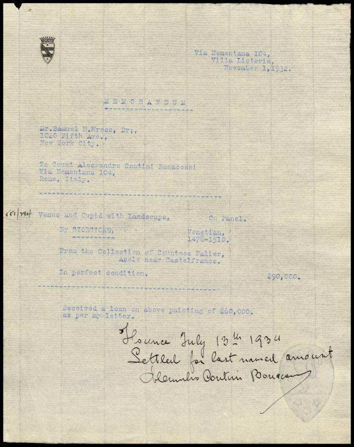 Image for Contini Bonacossi, Alessandro, November 1, 1932 [1]