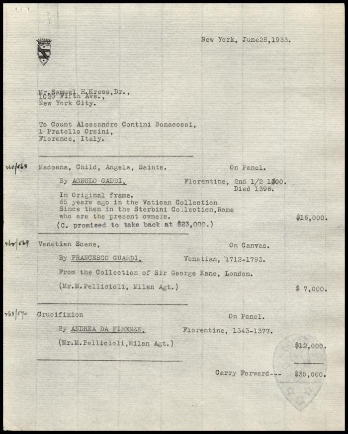 Image for Contini Bonacossi, Alessandro, June 28, 1933