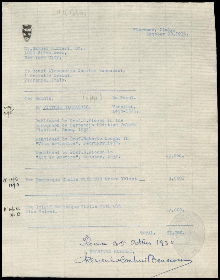 Image for Contini Bonacossi, Alessandro, October 20, 1934