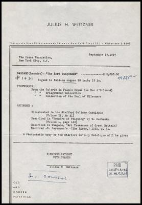 Image for Weitzner, Julius, September 17, 1947