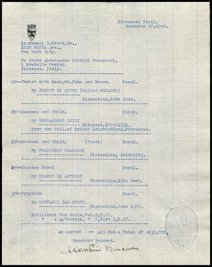 Image for Contini Bonacossi, Alessandro, December 27, 1934
