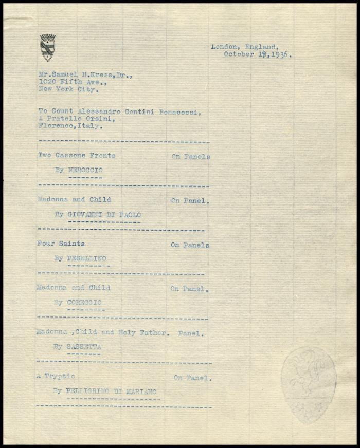 Image for Contini Bonacossi, Alessandro, October 18, 1936 [1]