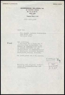 Image for Schoenmann Galleries, Inc., July 24, 1940