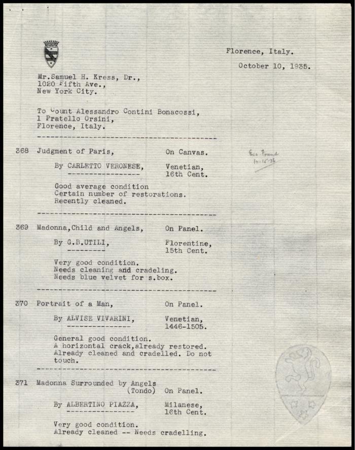 Image for Contini Bonacossi, Alessandro, October 10, 1935[2]