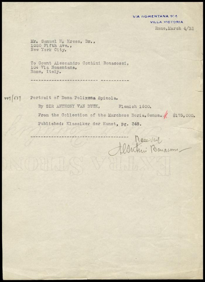Image for Contini Bonacossi, Alessandro, March 4, 1932 [3]