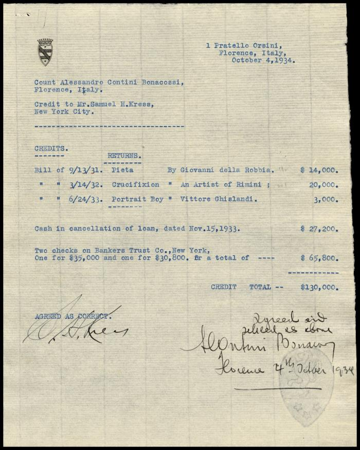 Image for Contini Bonacossi, Alessandro, October 4, 1934[2]