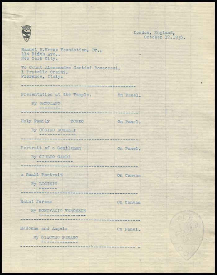 Image for Contini Bonacossi, Alessandro, October 18, 1936[2]