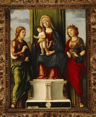 Image for Enthroned Madonna and Child with Two Virgin Martyrs