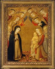 Image for The Virgin in Adoration of the Christ Child with Saints Bernard and Bernardino and Angels