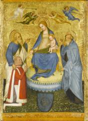 Image for Virgin and Child Crowned by Angels, with Saint John the Evangelist, Saint Anthony Abbot, and a Donor