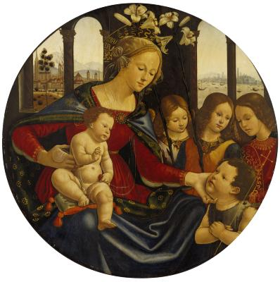Image for Madonna and Christ Child with Infant Saint John the Baptist and Three Angels
