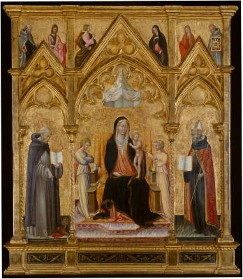 Image for Madonna and Child Between Saints Jerome and Augustine
