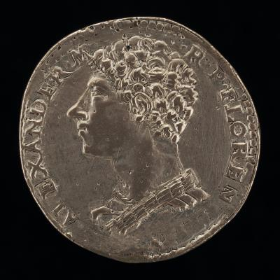 Image for Alessandro de' Medici, 1512-1537, 1st Duke of Florence 1523 [obverse]; Saints Cosmos and Damien [reverse]