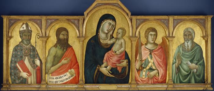 Image for Madonna and Christ Child with a Bishop Saint, Saint John the Baptist, Saint Michael and an Unidentified Saint