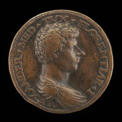 Image for Alessandro de' Medici, 1510-1537, 1st Duke of Florence 1532 [obverse]; Peace Setting Fire to a Pile of Arms [reverse]