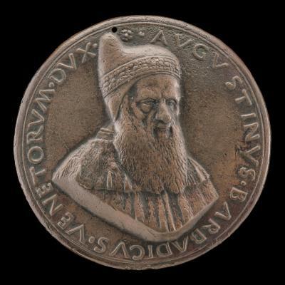 Image for Agostino Barbarigo, c. 1420-1501, Doge of Venice 1486-1501 [obverse]; Doge Barbarigo Kneeling before the Winged Lion of Venice [reverse]