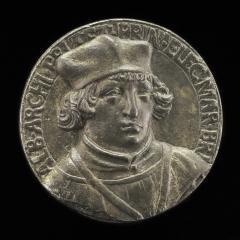 Image for Albrecht of Brandenburg, 1490-1545, Cardinal 1518 [obverse]; Coat of Arms [reverse]