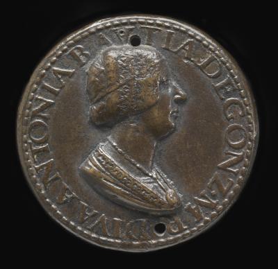 Image for Antonia del Balzo, 1441-1538, Wife of Gianfrancesco Gonzaga di Rodigo 1479 [obverse]; Hope on Prow of Broken-Masted Vessel [reverse]