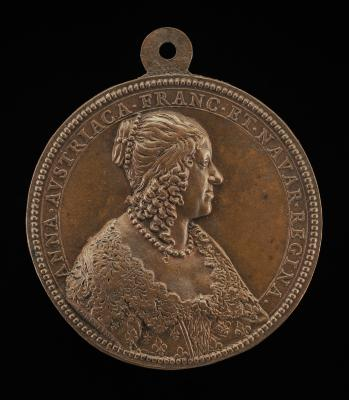 Image for Anne of Austria, 1601-1666, Wife of King Louis XIII of France 1615 [obverse]; Stars and Clouds Encircling Crown [reverse]