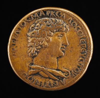 Image for Antinous, died A.D. 130, Favorite of the Emperor Hadrian [obverse]; Mercury Taming Pegasus [reverse]