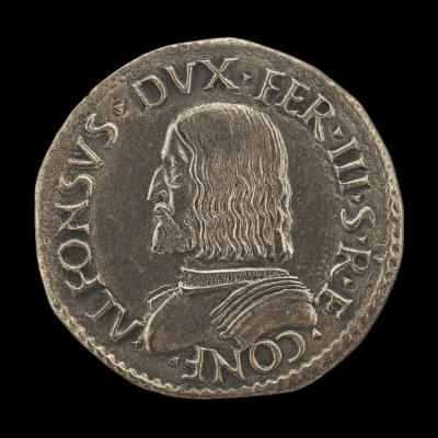 Image for Alfonso I d'Este, 1476-1534, 3rd Duke of Ferrara, Modena and Reggio 1505 [obverse]; Helmeted Nude Figure Seated, Holding Lion's Head from which Issue Bees [reverse]