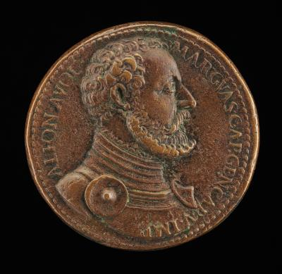 Image for Alfonso II d'Avalos, 1502-1546, Marquess of Vasto [obverse]; Man with Arms and Africa Mourning [reverse]