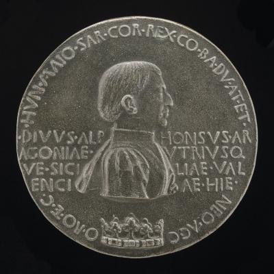 Image for Alfonso V of Aragon, 1394-1458, King of Naples and Sicily 1443 [obverse]; An Angel in a Car Drawn by Horses [reverse]