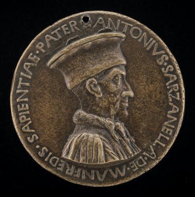 Image for Antonio Sarzanella de' Manfredi, Este Diplomat [obverse]; Prudence Seated on Two Hounds Holding Manfredi Shield [reverse]