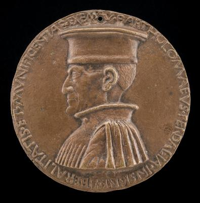 Image for Bartolommeo Pendaglia, died 1462, Merchant of Ferrara [obverse]; Figure Seated on a Cuirass, Holding a Globe and Spear [reverse]