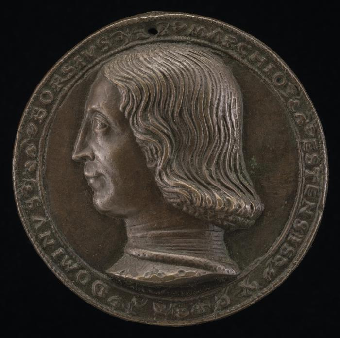 Image for Borso d'Este, 1413-1471, Marquess of Este [obverse]; Marigold and Doorknocker [reverse]