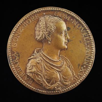 Image for Barbara Borromeo, died 1572, Wife of Camillo Gonzaga 1555 [obverse]; The Summits of Pindus, on each a Flaming Vase [reverse]