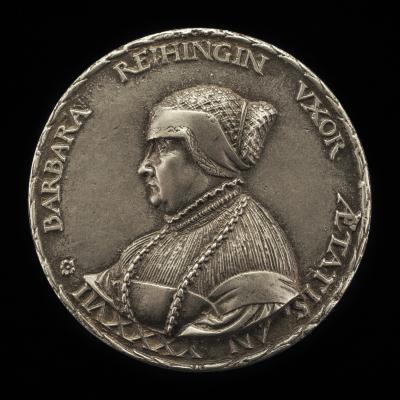 Image for Barbara Reihing, 1491-1566, Wife of Georg Hermann 1512 [obverse]; Coat of Arms [reverse]