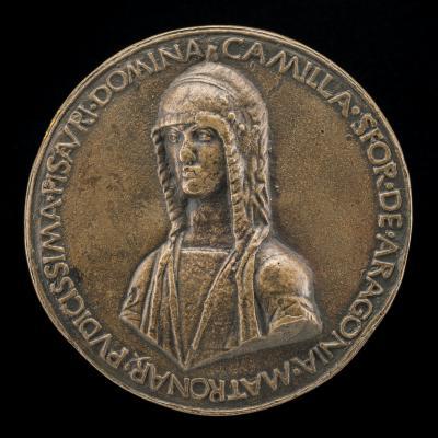 Image for Camilla Sforza of Aragon, Wife of Costanza Sforza 1475 [obverse]; Female Figure and Serpent [reverse]
