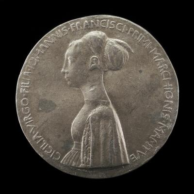 Image for Cecilia Gonzaga, 1426-1451, daughter of Gianfrancesco I [obverse]; Innocence and Unicorn in a Moonlit Landscape [reverse]