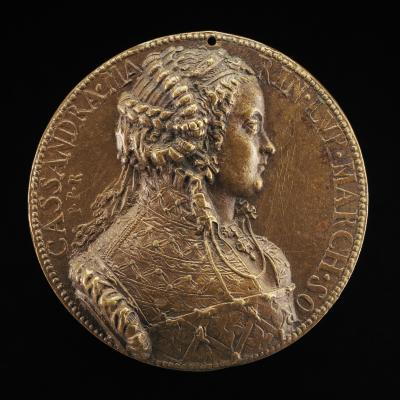 Image for Cassandra Marinoni, died 1575, Wife of Deifobo II Melilupi [obverse]; Circular Temple with a City in the Background [reverse]