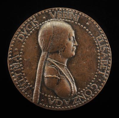 Image for Elisabetta Gonzaga, died 1526, Duchess of Urbino, Wife of Guidobaldo I 1489 [obverse]; Female Figure Holding a Bridle [reverse]