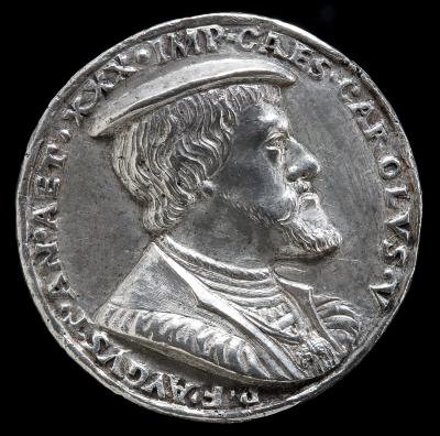 Image for Charles V, 1500-1558, King of Spain 1516-1556, Holy Roman Emperor 1519 [obverse]; Inscription in a Wreath [reverse]