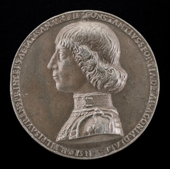 Image for Costanzo Sforza, 1447-1483, Lord of Pesaro 1473 [obverse]; Costanzo Riding in the Country [reverse]